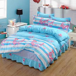 $enCountryForm.capitalKeyWord Australia - 100% Cotton Home Bedding Set Duvet Cover Bed Skirt Pillowcases 4pcs 1M-2M Bed for Children Adults Cartoon Print QXN10