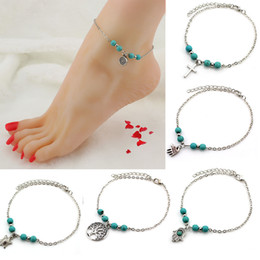 anklet beaded Canada - 6 Styles Handmade Anklets Fatima Palm Cross Tortoise Life Tree Anklets Bohemian Natural Beaded Beach Foot Chain Women Gift Free DHL H266F