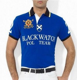 Men S Big Watch Australia - Fashion Men Black Watch Polo Shirts Big Pony American Polo Team Man Racing Polos Cotton Sport Tees Tops Black Blue Red White
