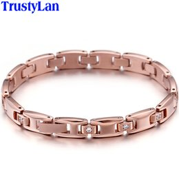 Korean Rose Gold Accessories Australia - Rose Gold Color Stainless Steel Charm Bracelets For Women Luxury Trendy Hand Jewelry Accessories Womens Jewellery Korean Style
