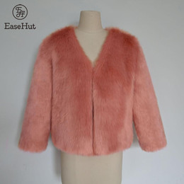 faux hairy jacket 2019 - EaseHut Winter Women Faux Fur Coat Solid Color V-neck Long Sleeve Fluffy Outerwear Short Faux Fur Jacket Hairy Warm Over