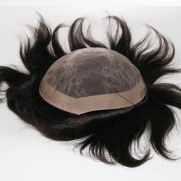 Chinese  Men Toupee 100% Original Human Hair Patch Hair Replacement System Fine Monofilament Wigs For Men Hair Toupee manufacturers