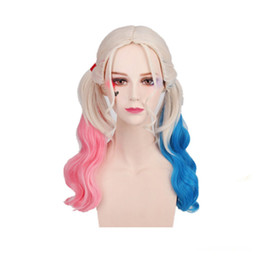 GIFT 2018 halloween wigs for women long synthetic wigs halloween mascara  halloween party wig hair Cosplay Wigs girl HrleyQuinn none lace wig fedaf2e55ec7