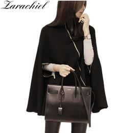 Zipper Cape Poncho NZ - New 2018 Korea Brand Clothing Women Winter Jacket Fashion Zipper Wool Blend Black Coat Loose Fit Thicken Cloak Ponchos Cape Coat
