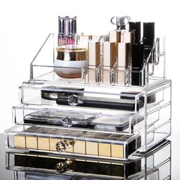 $enCountryForm.capitalKeyWord NZ - New Clear Acrylic Makeup Storage Case Nail Polish Rack Lipstick Cosmetic Storage box Holder Makeup Brush Makeup Organizer