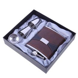 76840acd6eb 7oz Luxus Edelstahl Leder Flachmann Set Wein Bole Whiskey Flask Drink  Becher mit 1 Trichter 2 Tassen