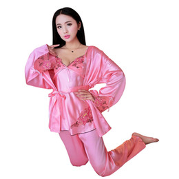 pajamas hottest 2019 - New Hot Women Autumn Satin Home Wear Lace 3-Pieces Pajamas Sets Sexy Sleep Wear Pink One Size cheap pajamas hottest