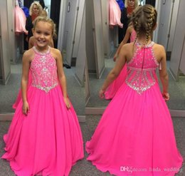 Cute Little Cupcakes Australia - 2018 Cute Fuchsia Girl's Pageant Dress Princess Beaded Crystals Party Cupcake Young Pretty Little Kids Queen Flower Girl Dress