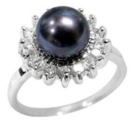 real akoya pearls UK - REAL NATURAL BLACK AKOYA PEARL RING SIZE 7-11