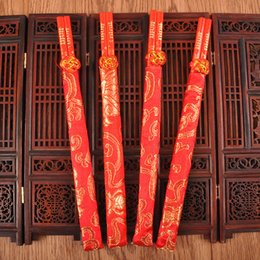 Wholesale cloth bamboo online shopping - Wedding Supplies Red Wood Chopsticks Printing Both The Double Happiness And Dragon With Cloth Bearing Sleeve cd WW
