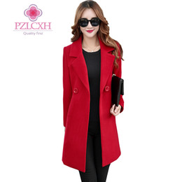 China PZLCXH Women's Winter Jackets Double-breasted Coat EleWarm Woolen Coats 2018 Long Ladies Clothing Jacket Plus Size ZL0870 cheap ladies woolen clothes suppliers