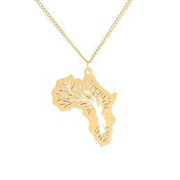 Tree Life Pendant Gold UK - Stainless Steel Hiphop Africa Map Pendant Necklace With Hollow Life Tree Charm Jewelry For Men Women Ethiopian Jewelry Wholesale