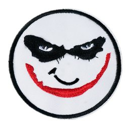 China 8CM Embroidered Clown Joker Patch Sewing Iron On Mask Badge For Bag Jeans Hat Appliques DIY Handwork Sticker Decoration Apparel Accessories suppliers