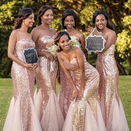 Lavender Blush Wedding Dress Australia - Blush Pink Bridesmaid Dress Mermaid Sweetheart Neckline Sequins Tulle Floor Length Party Vestidos De Maid Of Honor Dress For Wedding Guest