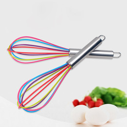 "wholesale wire whisk UK - Wire Whisk Stirrer Mixer Egg Beater COLOR SILICONE EGG WHISK STAINLESS STEEL HANDLE 10"" LZ0863"