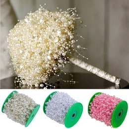 beads chain garland 2019 - 75M Artificial Pearls Beads Chain Garland Fishing Line Artificial Flowers DIY Wedding Decoration Home Decoration 14color