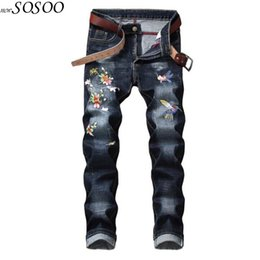 god flowers 2019 - Soft Comfortable Fashion men jeans pants fear of god flowers and bird embroidery skinny jeans men pants #668 discount go