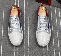 Red Bottom Silver Shoes Canada - 2018 High Quality Fashion men rhinestone gold silver red mixed color causal shoes loafers men driving bottom rubber anti-slip for men 38-43