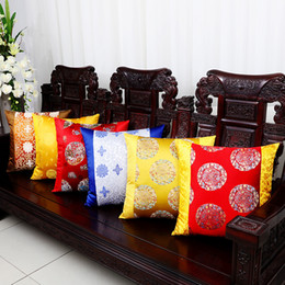 decorative fancy lights 2019 - Luxury Fancy Patchwork Sofa Chair Back Cushion Decorative Chinese style Throw Pillow Silk Satin Lumbar Support Cushion B