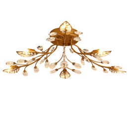 mounted art UK - Iron crystal ceiling chandeliers E14 K9 crystal ceiling lamp black Bronze ceiling chandeliers home decor American country style lighting fix
