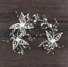 Butterfly hair comB wedding online shopping - Handmade headwear new Crystal Butterfly Hair belt fringed Earrings Set White Wedding headwear hoop