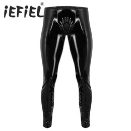 $enCountryForm.capitalKeyWord UK - iEFiEL Fashion Sexy Mens Lingerie Shiny Patent Leather Tight Pants Leggings Trousers with Open Penis Hole for Clubwear Clothes