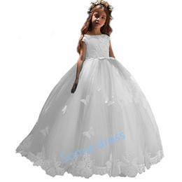 8ab29b48e 2018 Elegant princess White Flower Girls Dresses Cape Sleeve A Line Lace  Tulle Beaded First Communion Dresses Custom Made Hot Sale