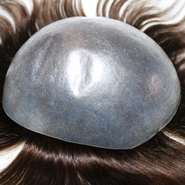 Wholesale Mens Hairpieces Toupee Super Invisible Thin Skin Natural Black Mens Toupee Hair Replacement Systems For hair lost and bald fast shipment
