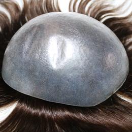Vente en gros Mens postiches Toupet super Invisible peau mince naturelle noire hommes Toupet remplacement des cheveux systèmes pour cheveux perdus et l'expédition rapide chauve