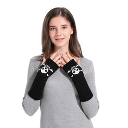 $enCountryForm.capitalKeyWord NZ - Harajuku Fashion Skull Pattern Gloves Woman Winter Warm Knitted Long Plus Thick Gloves Half Finger Mittens Guantes Luvas #L15