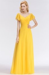 Bridesmaids dresses for Beach weddings online shopping - Summer Beach Yellow Chiffon Long Bridesmaids Dresses For Country Weddings A Line V Neck Pleats Long Wedding Guest Dress BM0037