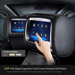 China 2PCS 9 inch Touch Screen Leather car headrest dvd player for car dvd with Pillow 1080P USB SD FM IR Transmitter Game Remote Control Black cheap video game remote suppliers