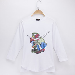 $enCountryForm.capitalKeyWord NZ - 2018 Hot Sale Children Clothes Kids T-shirts Full Skateboard Cat Print 100% Cotton Child Shirt Boys Long T Shirts Baby Girls Top Tees Unisex