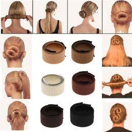 $enCountryForm.capitalKeyWord NZ - Women Girls 1PC Hair Styling Donut Former Foam French Twist Magic DIY Tool Bun Maker Styling Accessories 6 Colors