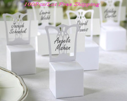 $enCountryForm.capitalKeyWord UK - (100 pieces lot) Wedding and Party Decoration Gift box of Miniature Chair Place card holder and candy box (name card including)