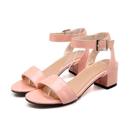 woman shoes heels 44 UK - Sandals Patent Leather Fashion High Heel 4.5CM big 44 45 46 47 48 49 small 31 32 33 Woman's Shoes Size 30-50