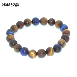 Discount blue tiger eyes bracelet - DESSAUGE Trend Mens Bracelets 2018 Beaded Bracelets Natural Stone Yellow Blue Tiger Eye Stone Bracelet Buddha Bracelet W