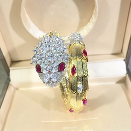 Wholesale green snake movie online – design New designer high quality red green snake CZ diamond paved animal cuff bracelet bangle k gold plated PUNK jewelry for women