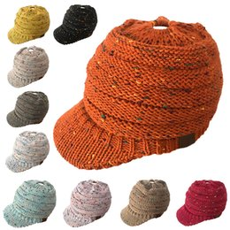 Discount warm stylish winter hats - 2018 CC Ponytail Beanie Hat Women  Crochet Knit Cap Winter 01e889930ed2