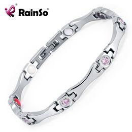magnets energy 2019 - Rainso Elegant Stainless Steel Energy Health Magnetic Bracelet with Magnet Rhinestones Friendship Love Bracelets for Wom