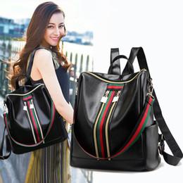 $enCountryForm.capitalKeyWord NZ - Free Shipping High Quality Ladies Fashion Backpack 2018 Hot Sale PU Stripe Women Bag Student Back Pack Luxury Crossbody Handbag