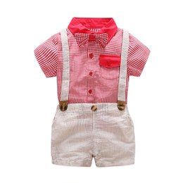 baby fashion clothes 2018 - Baby Boy Clothes 2018 Boys Plaid Bow Shirts with Cotton Overalls Kids Boys Fashion Casual Sets Kids Gentleman Outfits Cl