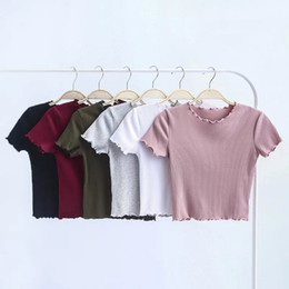 Tight Fitted Tees NZ - Wood ears O neck Short sleeve T-shirt 2018 New Woman Slim Fit t shirt tight tee Summer Retro Tops 6 colors