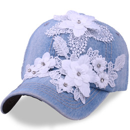 outdoor flowers UK - New Adjustable Summer Baseball Caps For Women Patch Lace Flower With Rhinestone Denim Snapback Caps Outdoor Hip Hop Hats Gorras