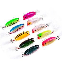 small lures NZ - Plastic Chubby Artificial Popper Floating Fishing Lure 10.4g 5.7cm Topwater Swimming Rainbow Painted Laser Bait small bass Crankbaits