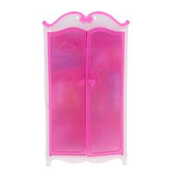 Toy Furniture Wholesale UK - Rosy Closet Wardrobe Princess Bedroom Furniture For 30cm Dollhouse Decor