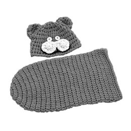 2194170a80c 2pcs Gray Baby Boys Toddler Infant Cool Photo Prop 100% Handmade Crochet  Knit Bear Hat + Cocoon