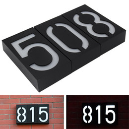 Discount led illumination lamp - Solar Powered Wall Mount 6 LED Bulb Lamp Illumination Doorplate Lamp House Number Porch Lights House Hotel Door Outdoor