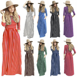 Striped Maxi Dress Blue White Australia - New Spring Autumn 2019 Elegant Women Long Dress Striped Splice Maxi Dress Pocket Big Swing Loose Dress High Stretch Robe Vestido