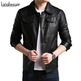 fashion men leather jacket green 2019 - 2018 New Fashion Brand Mens Leather Jackets And Coats Mens Faux Fur Coats Motorcycle Leather Jacket Men Solid Jacket Men